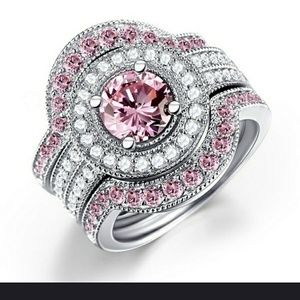 Round Cut Pink Sapphire and Diamond Ring Set